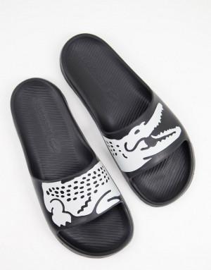 Черные шлепанцы Lacoste Croco 2.0-Черный цвет