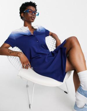 Темно-синее классическое платье с воротником-поло и эффектом омбре Lacoste-Голубой